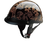Motorcycle Half Helmets for Men - Gold Screaming Skulls