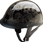 Motorcycle Half Helmets for Men, Silver Screaming Skulls