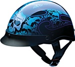 Blue Tribal Skull Motorcycle Helmet for Men