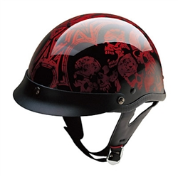 Motorcycle Helmets - Red Skulls - DOT Clearance