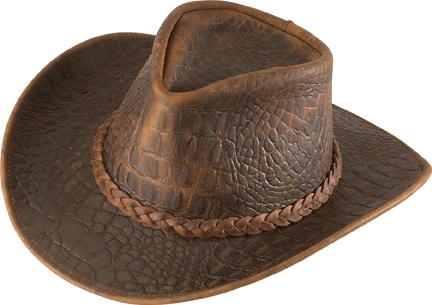 Henschel Crocodile Embossed Leather Cowboy Hat - Leather Bound Online cd6587e04f3
