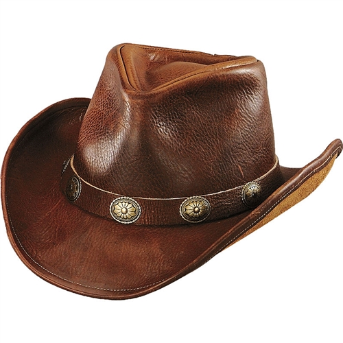 Brown Leather Cowboy Hats (Concho Band) USA Made By Henschel 794af1350936