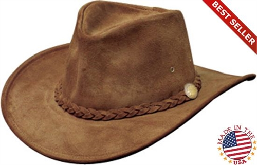 Packable USA Made Cowhide Brown Leather Cowboy Hats by Henschel 0931e9787a34