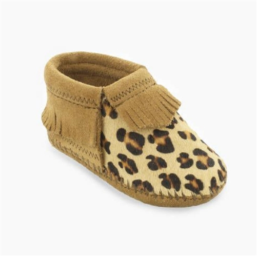 Minnetonka Infant Moccasins Brown Suede Leopard Baby Booties
