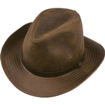 Men's Leather Hats - Henschel Oiled Brown Safari Hat