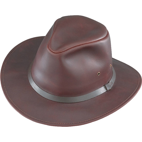 a8b4a9cd779 Crushable Brown Safari Leather Hats By Henschel
