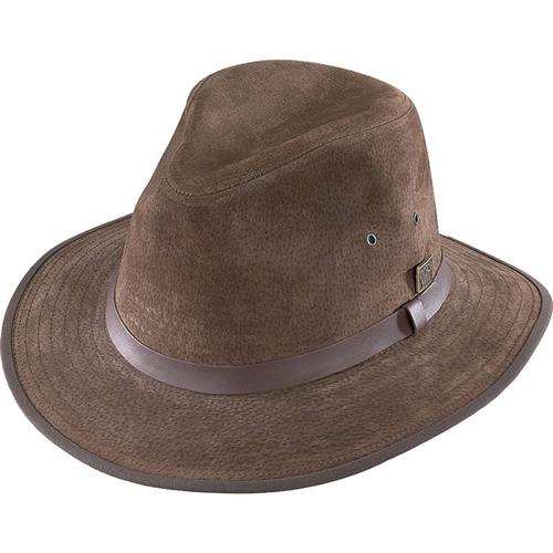 2b5ff2b4 Brown Leather Suede Safari Hat by Henschel