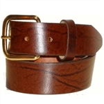 Genuine Brown Leather Belt: Oil Tanned, USA Cowhide