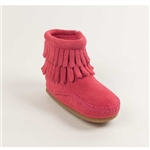Minnetonka Infant Moccasins 1295 Hot Pink Fringe Boots