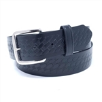 Black Basket Weave Wide Leather Belts, USA Made