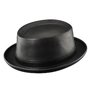 Henschel Black Leather Porkpie Jazz Hat f1a897d0837
