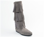 Minnetonka Triple Layer Fringe Boot - Gray Suede