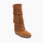 Minnetonka Moccasin Triple Fringe Boots - Brown