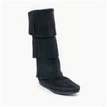 Women's Minnetonka Triple Layer Fringe Boot - Black