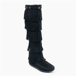 Minnetonka 5 Layer Fringe Boots: Black Suede