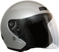 Open Face Silver Motorcycle Helmets for Sale