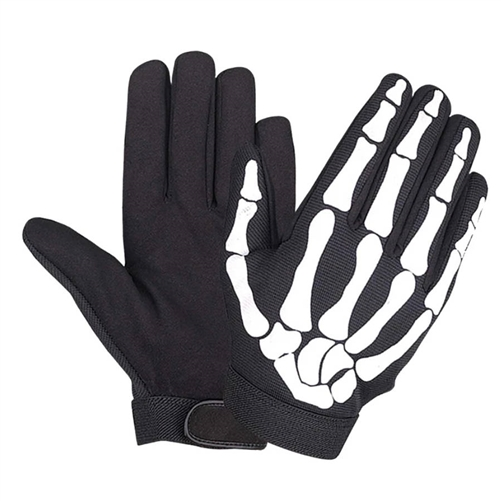 Mens Skeleton Motorcycle Gloves Mechanics Style