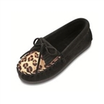 Girls Minnetonka Moccasin - Leopard Print Black
