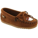 Girls Hello Kitty Minnetonka Moccasins - Brown Suede Limited Edition