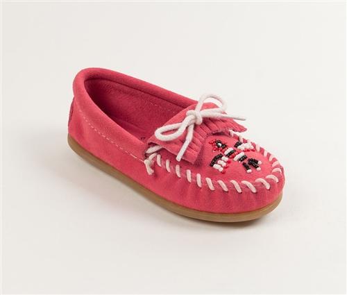 Girls Minnetonka Moccasins Hot Pink