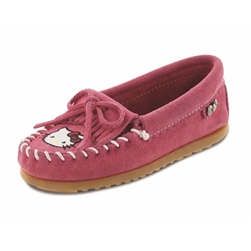 Girls Hello Kitty Minnetonka Moccasins - Limited Edition Pink Kilty