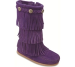 Purple Minnetonka Moccasin for Girls - Triple Fringe Boot