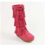 Girl's Minnetonka Moccasin - Pink 3 Layer Fringe Boot