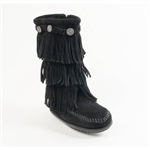 Girl's Minnetonka Moccasins - Black Fringe Boot