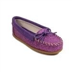 Girls Purple Glitter Minnetonka Moccasins, Kids #2814