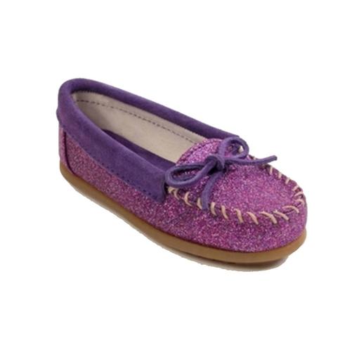 95ed0f22532d0 Girls Purple Glitter Minnetonka Moccasins