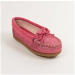 Girls Pink Glitter Minnetonka Moccasins, Kilty Kids
