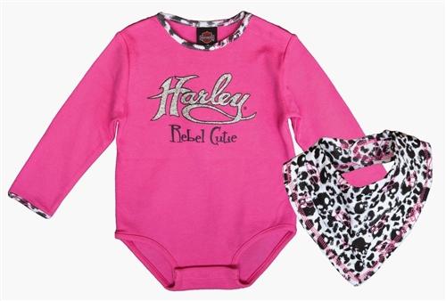 e22b7d3a4 Harley-Davidson Baby Girl Body Suit & Bandanna Bib - Leather Bound ...