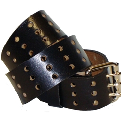 Extra Wide Leather Belt: Black Oil-Tan