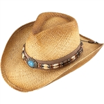 Henschel Straw Cowboy Hats: Beaded Band