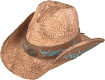 Henschel Straw Cowboy Hat: Leather Band
