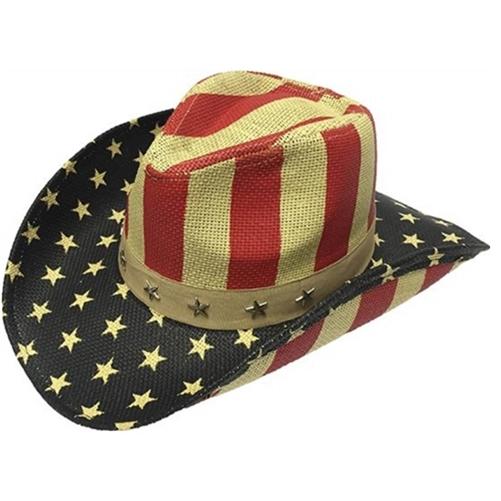 e663dca0 Henschel Stars & Stripes American Walker Straw Cowboy Hat