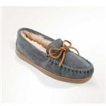 Womens Grey Suede Sheepskin Minnetonka Moccasins
