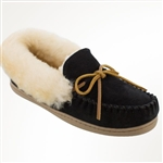 Womens Black Sheepskin Minnetonka Moccasins