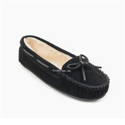 Minnetonka Moccasin Cally Slipper: Black Suede 4010