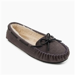 Womens Pile Lined Cally Minnetonka Slippers - Grey
