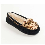 Minnetonka Moccasin: Black Leopard Slippers