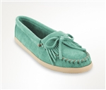 Ladies Minnetonka Newport Moccasins - Mint Green
