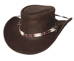 Bull Hide Brown Leather Uplander Western Hat