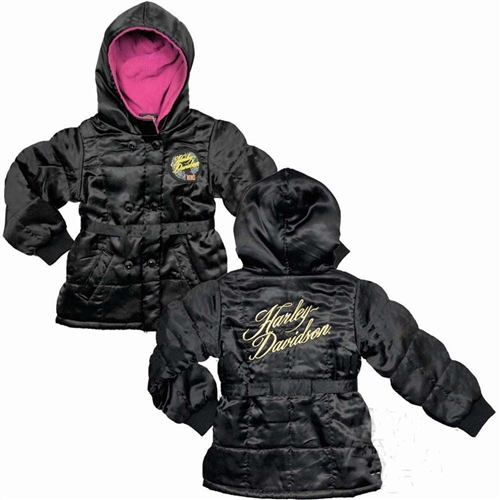 Harley Davidson Kids Clothing Girls Fleece Winter Jacket Leather