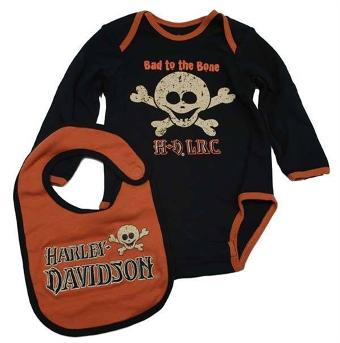 Harley Davidson Baby Clothes Beauteous HarleyDavidson Baby Clothes Bodysuit Bib Set Leather Bound Online