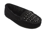 Rhinestone Studded Minnetonka Moccasins: Cally Black Fur