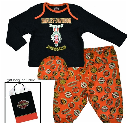 Harley Davidson Baby Clothes Boys Gift Set Leather