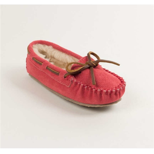 Girls Hot Pink Suede Pile Lined Moccasins
