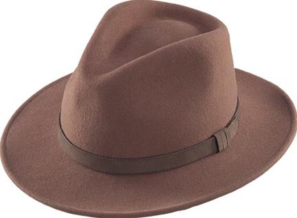 13cc4c5c03880 Brown Felt Crushable Outback Hats By Henschel