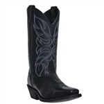 Laredo Ladies Black Leather Western Boots, Square Toe